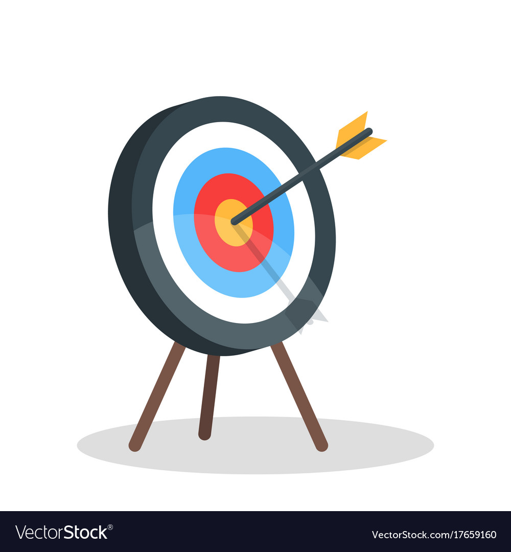 Image of the arrow is exactly on the target vector image