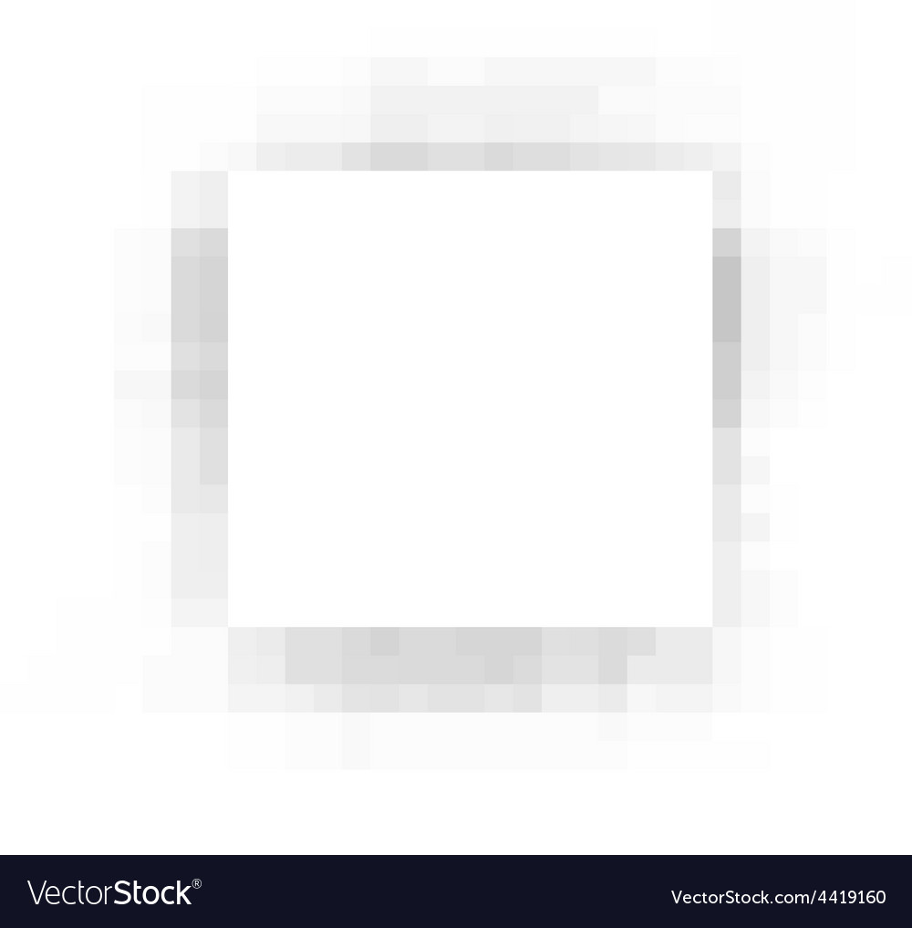 Pixel square white plane with gray shadow