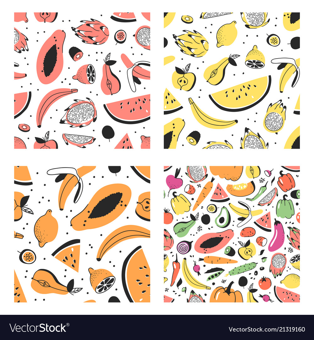 Set of hand drawn set of tropical fruits