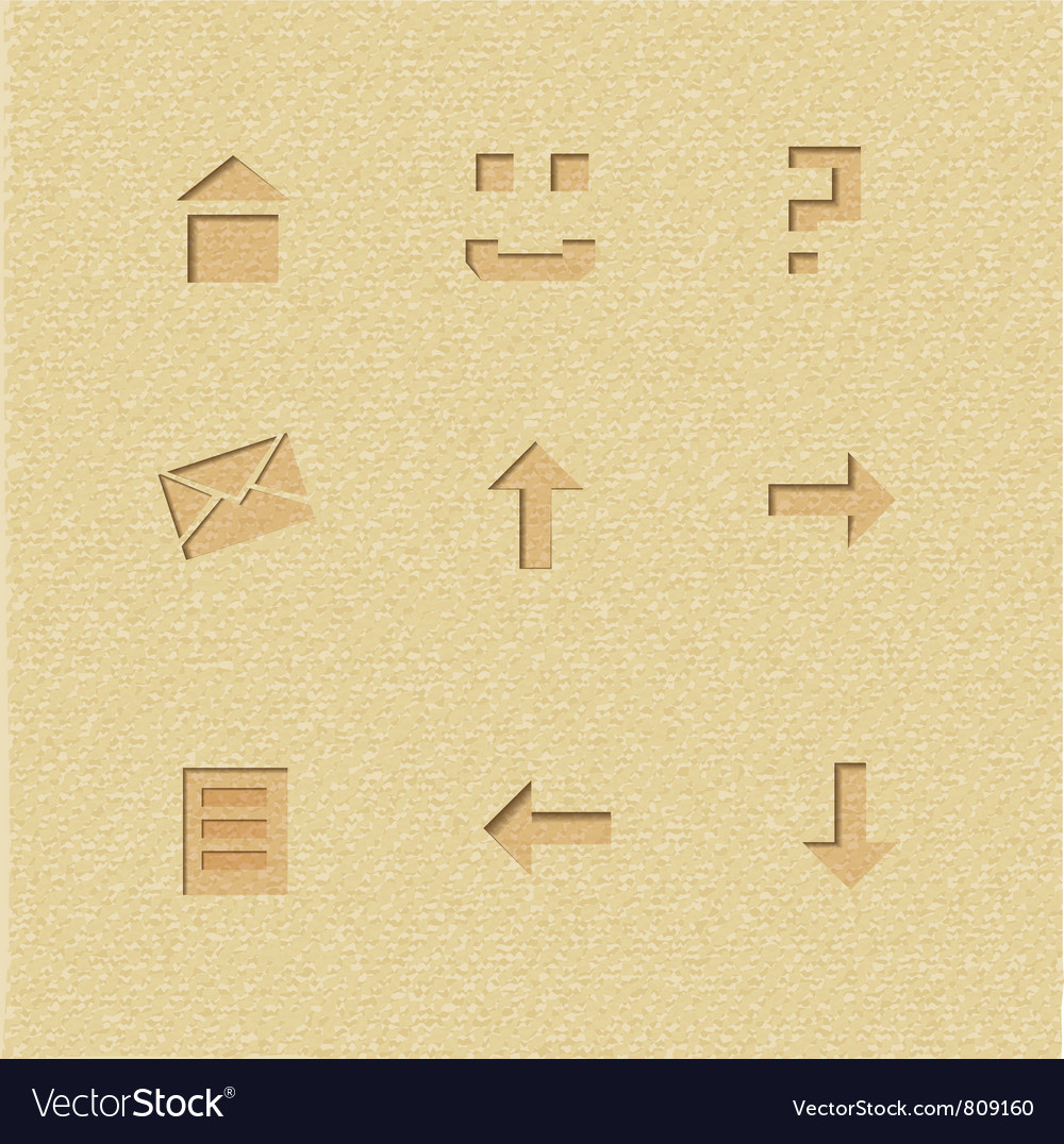 Set of interface icons on cardboard background