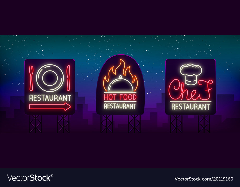 Set of logos labels for the restaurant the