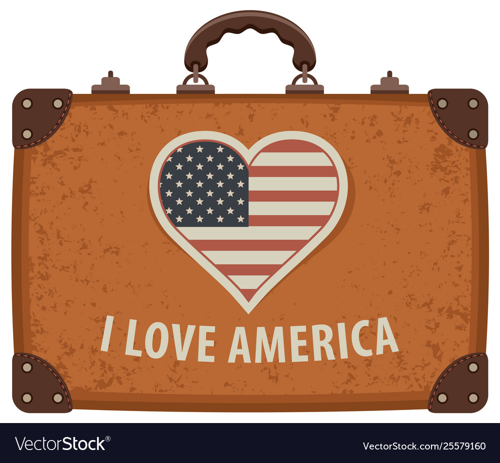 Travel suitcase with words i love america