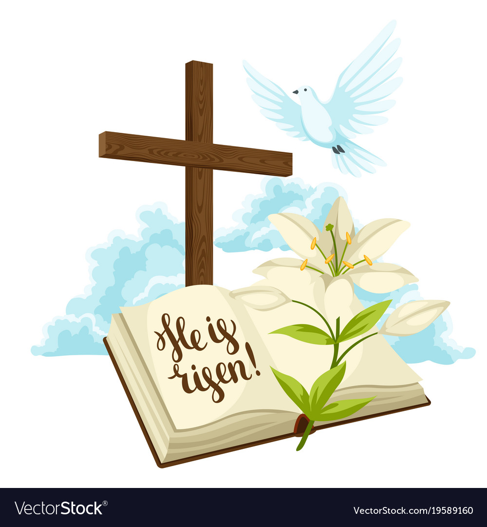 Wooden cross with bible lily and dove happy