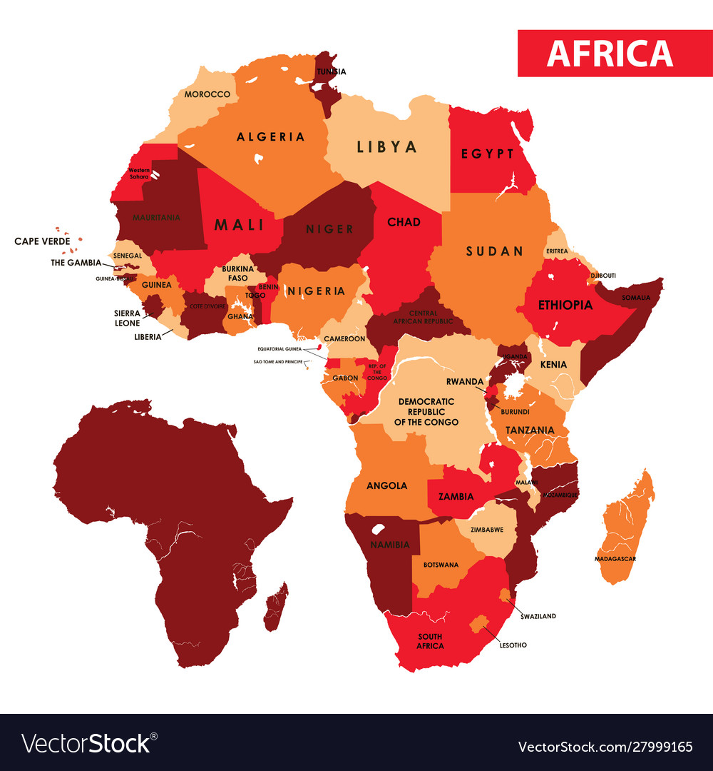 Africa Regions Political Map With Country Names Vector Image