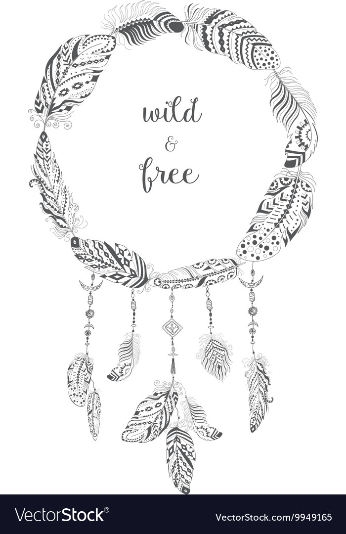 boho style frame with ethnic arrows and feathers vector image