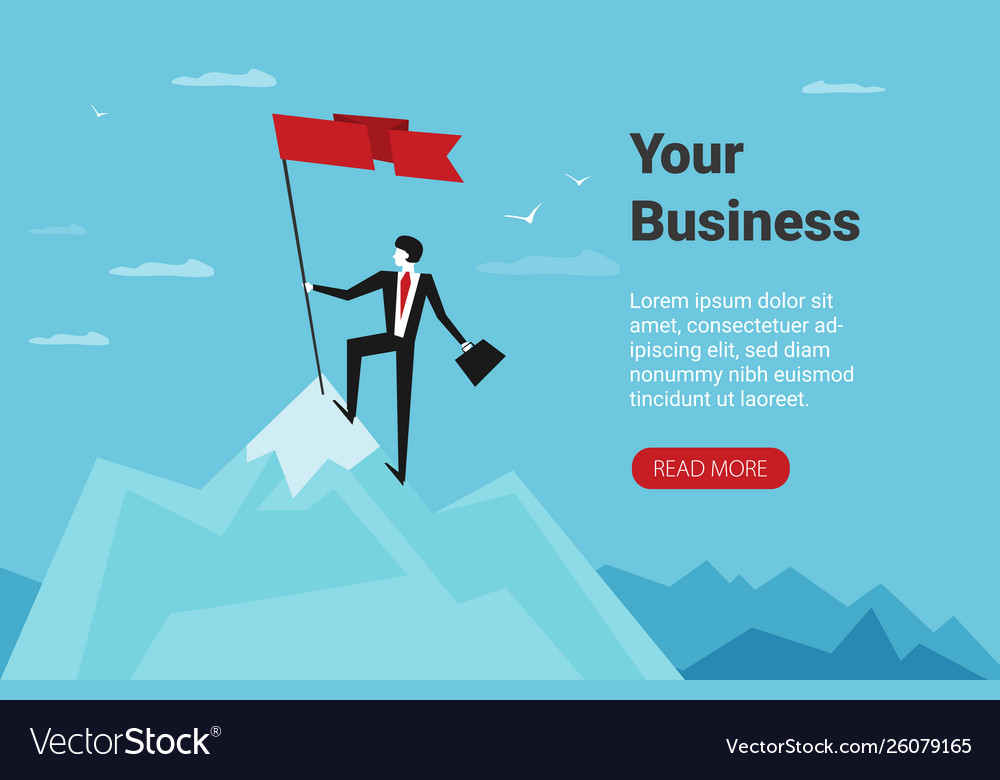 Businessman holds flag stand on top mountain