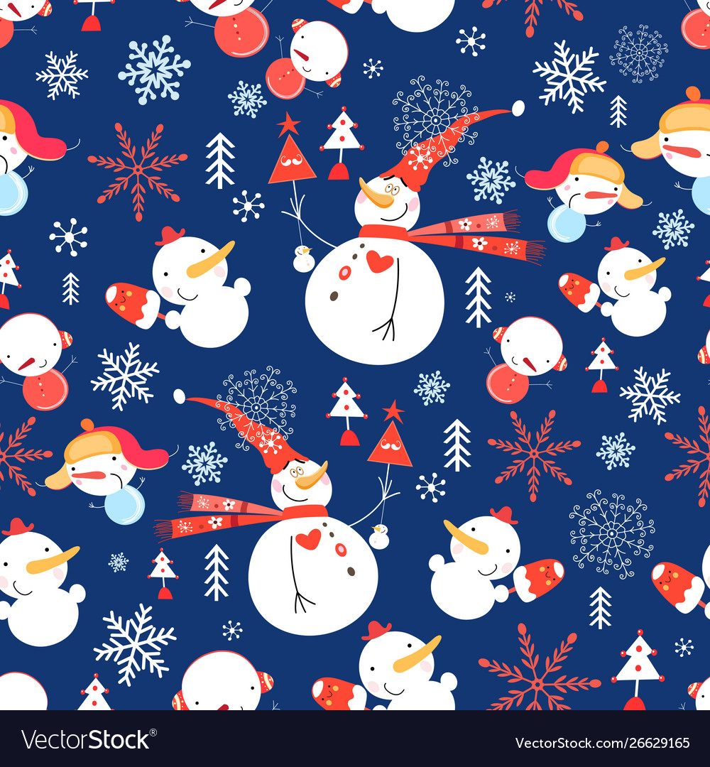 Christmas pattern with snowmen