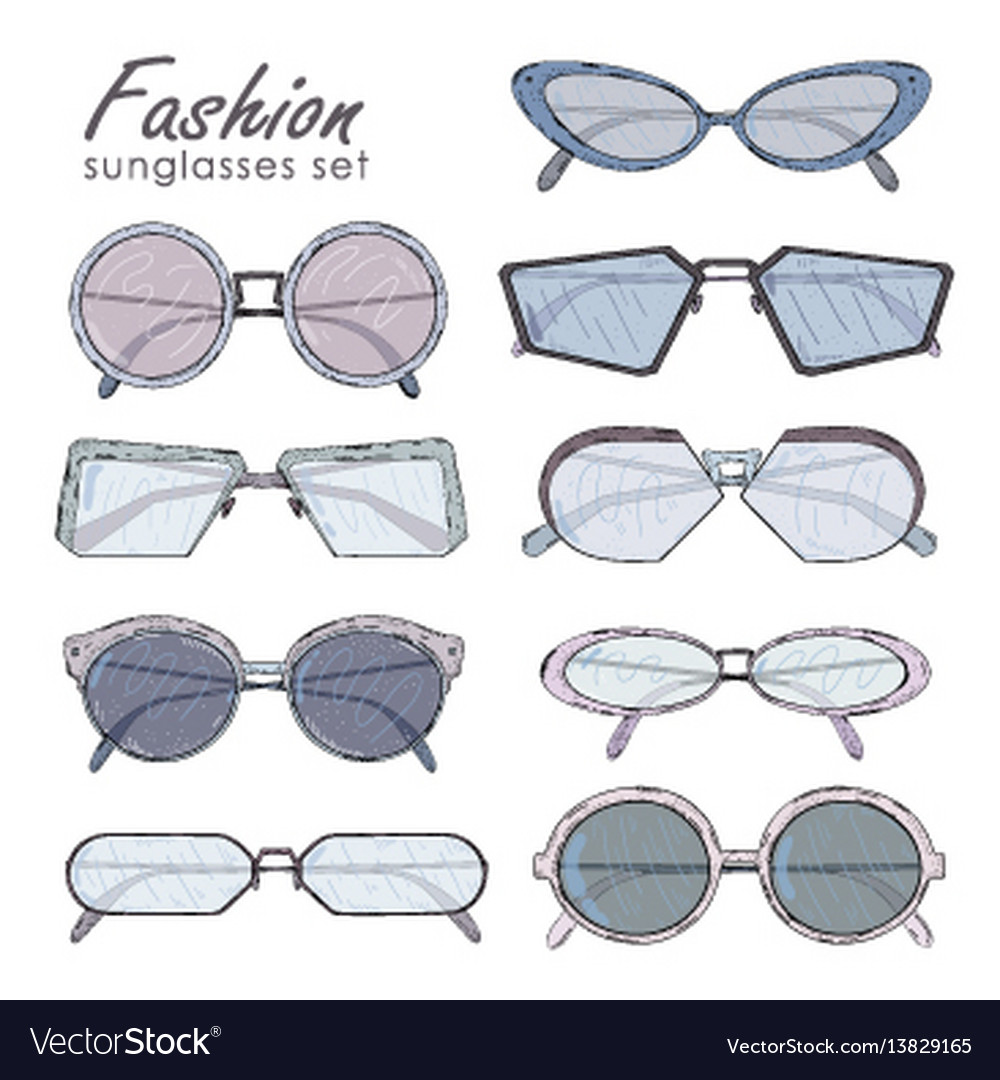 Fashion glasses set hand drawn sunglasses