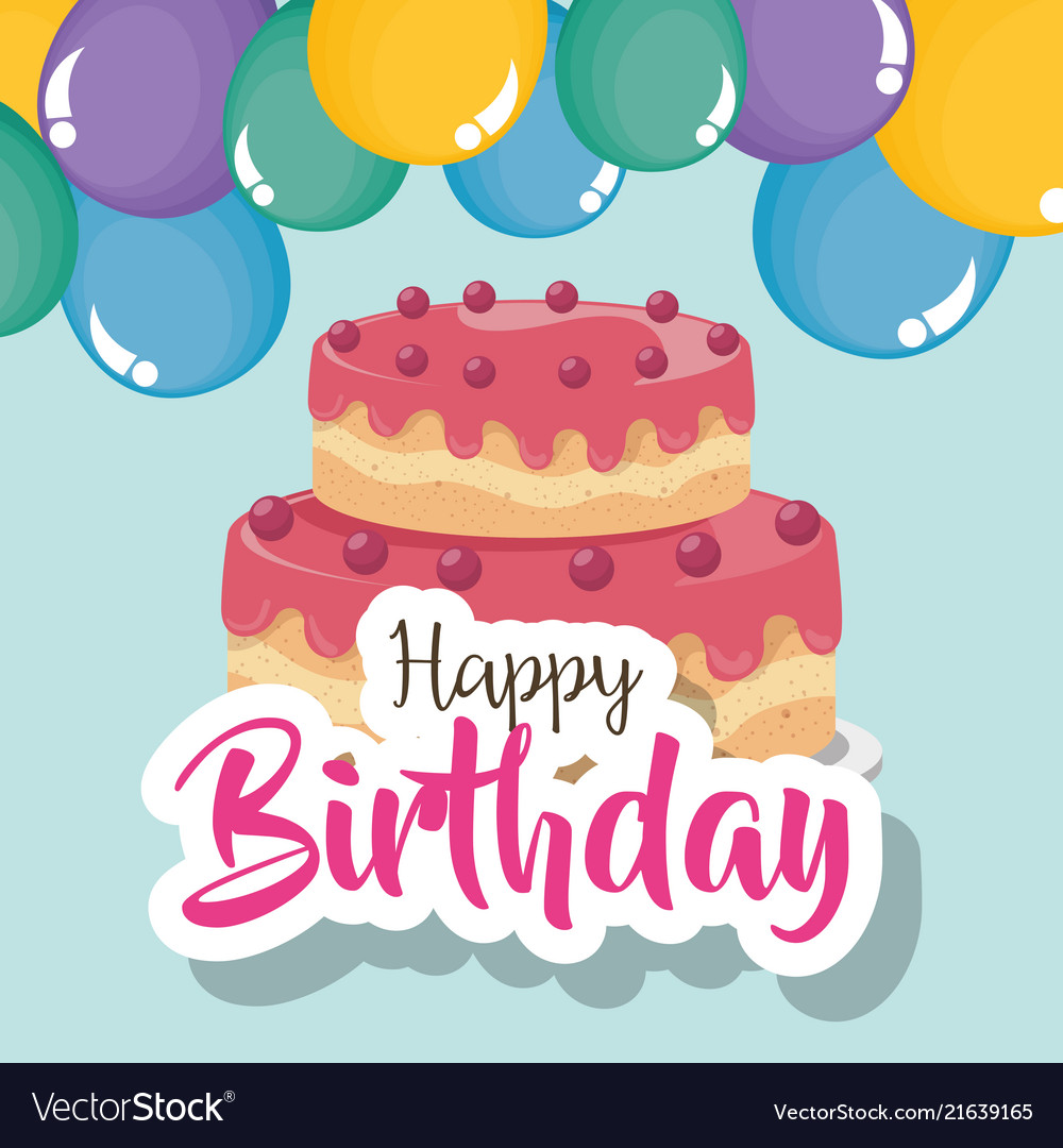 Fabulous Happy Birthday Card With Cake And Balloons Helium Vector Image Personalised Birthday Cards Arneslily Jamesorg