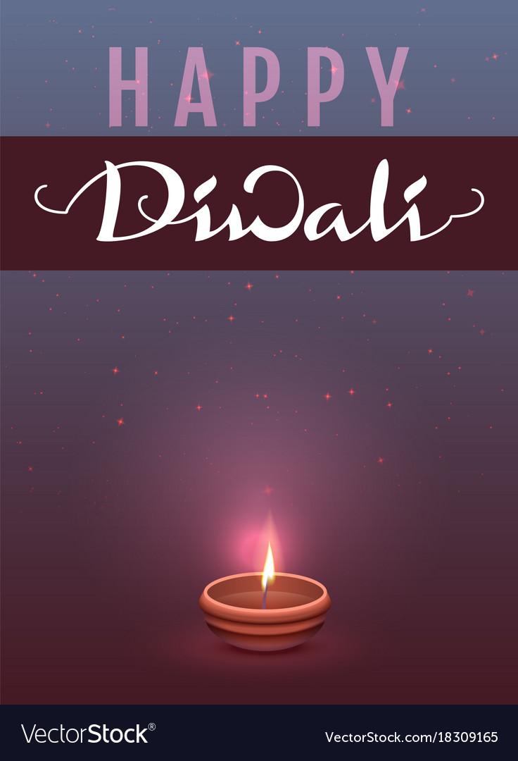 Happy diwali indian festival of lights lettering