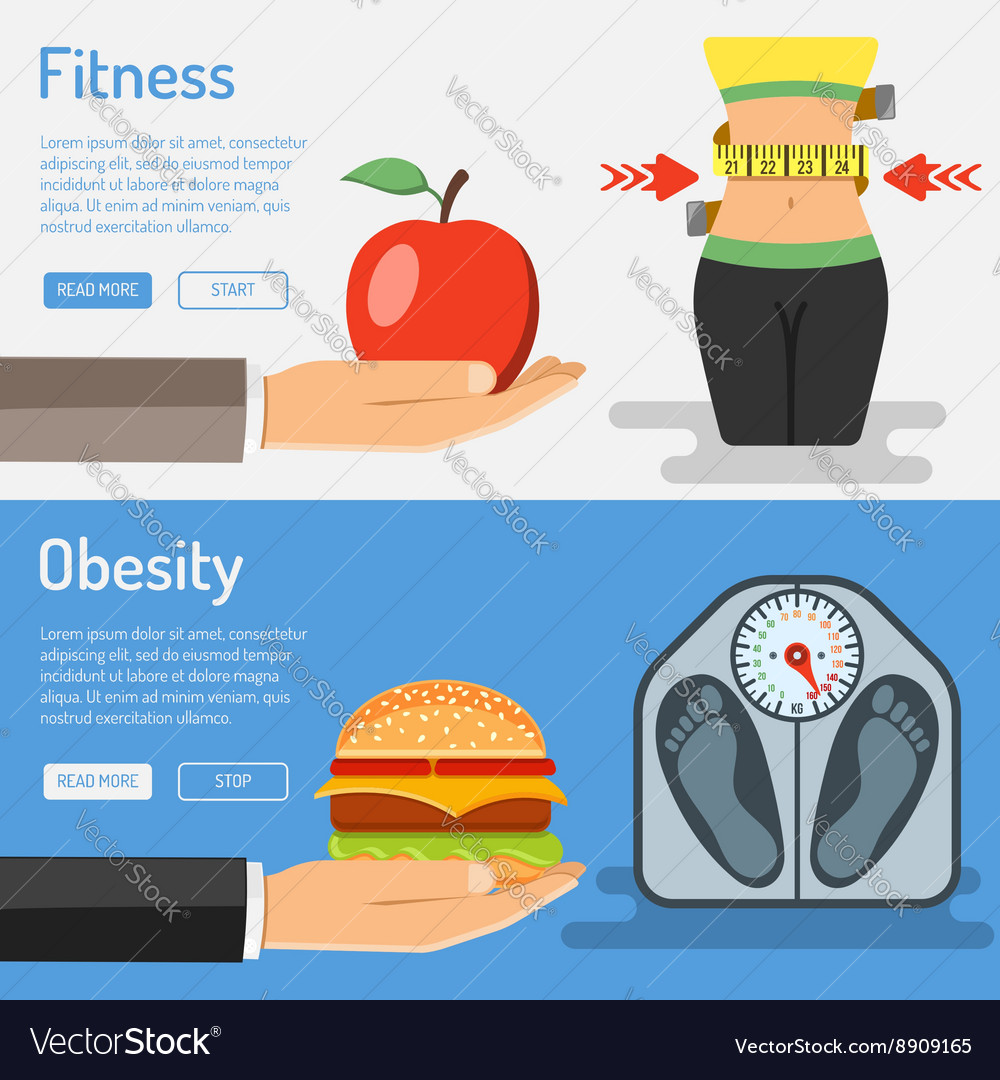 Healthy Lifestyle and Obesity Concept vector image