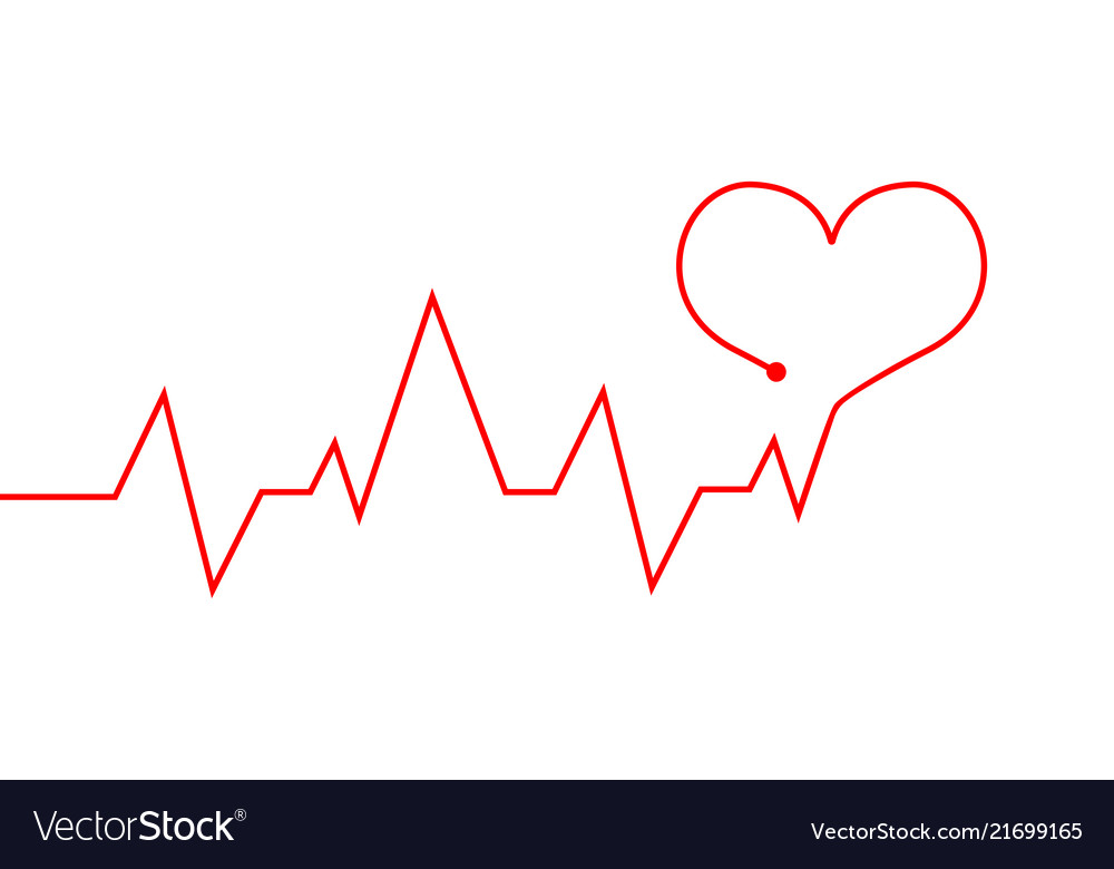 Heartbeat Line Red Cardiogram As Symbol Of Life Vector Image