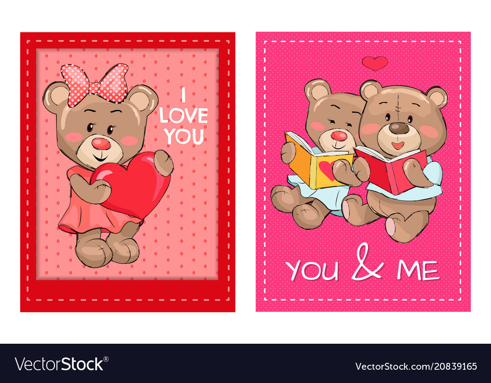 I love you and me teddy bears reading books