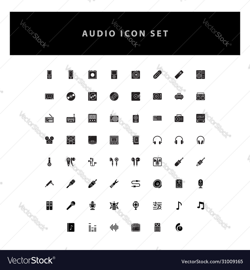 Music audio icons set with glyph style design