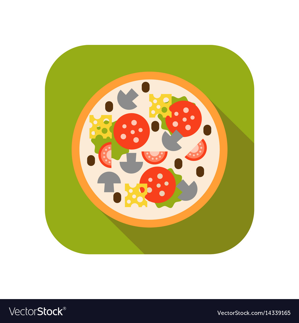 Pizza with mushrooms tomatoes sausage and cheese vector image