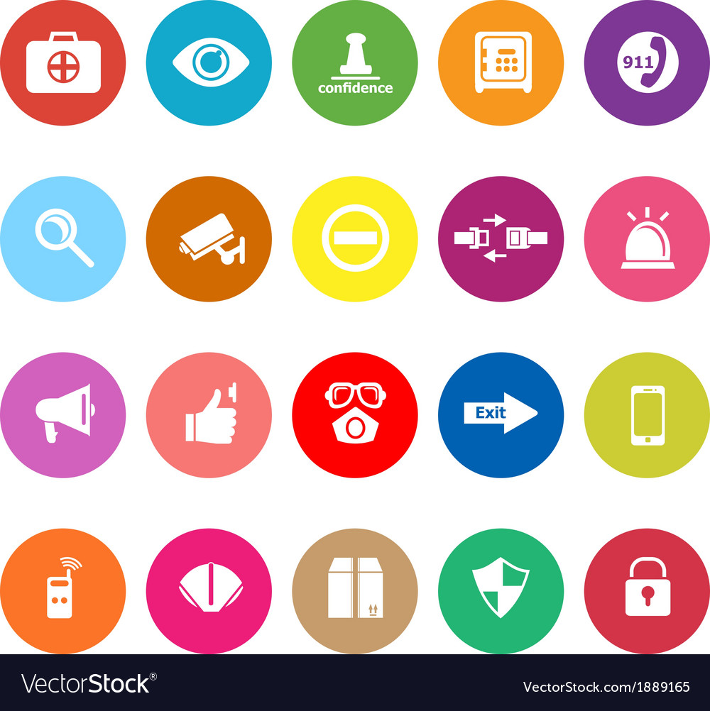 Security flat icons on white background vector image