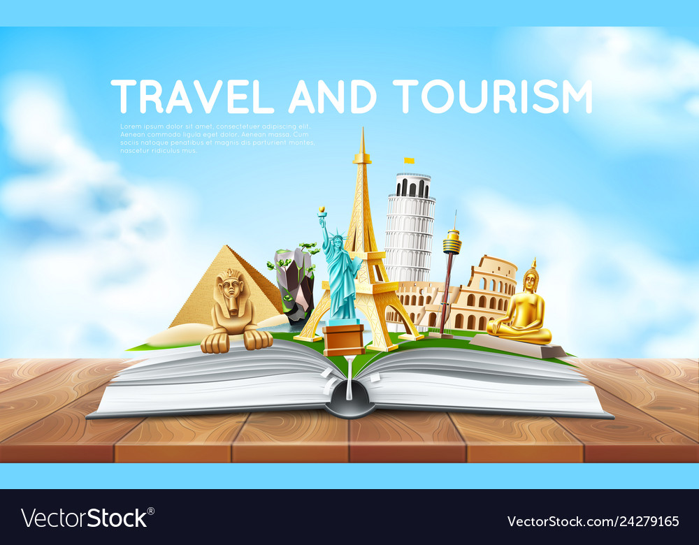 Travelling tourism poster design in book