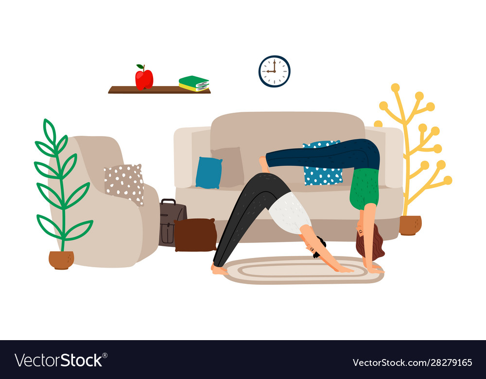 Young couple doing yoga at home