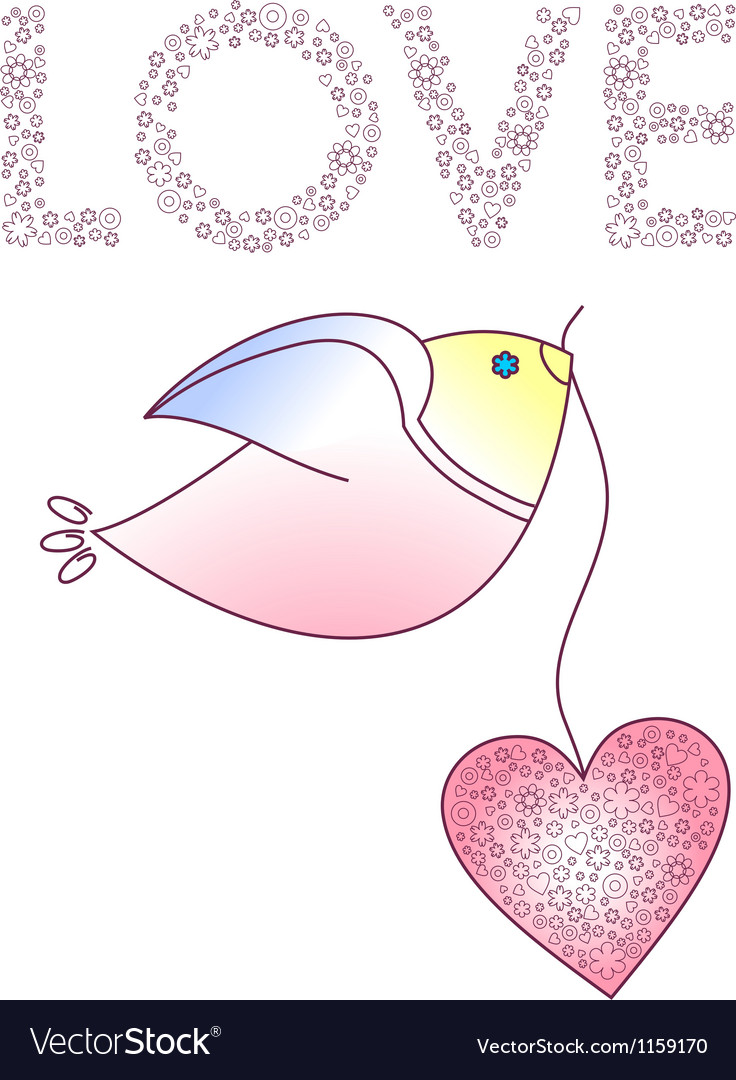 Abstract bird with a heart