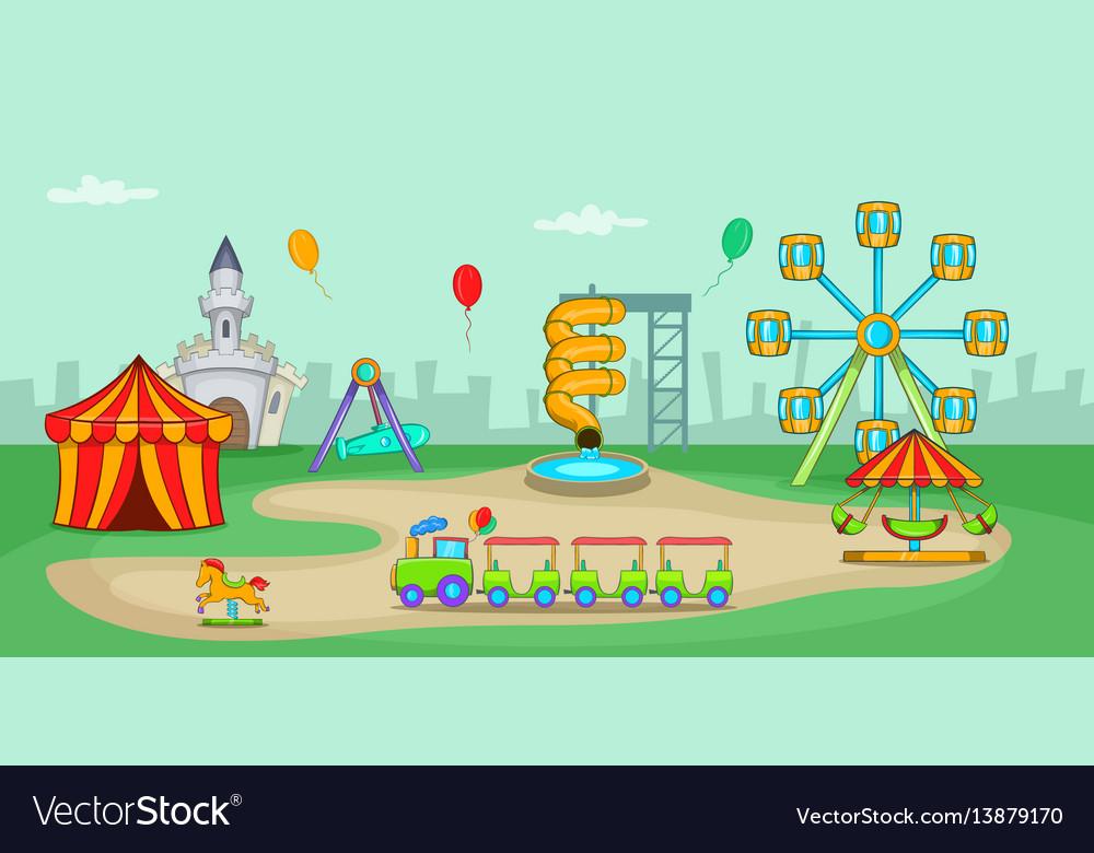 Amusement park horizontal banner cartoon style vector image
