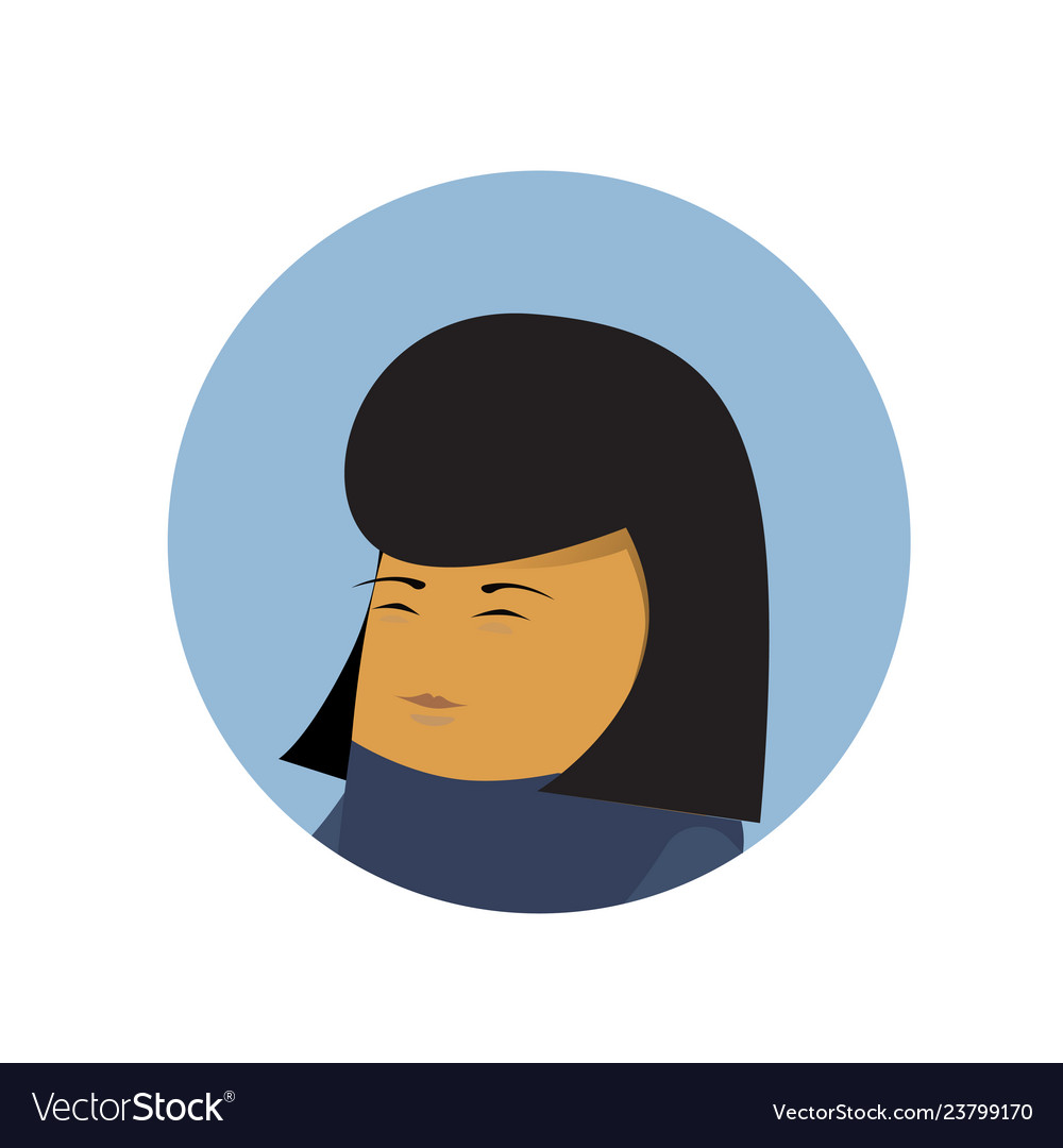 Asian business woman profile icon isolated chinese