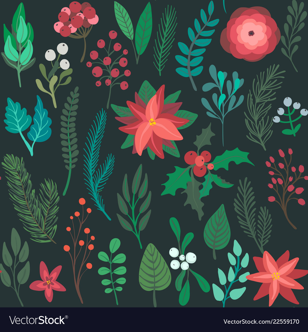 Christmas seamless pattern with flowers and