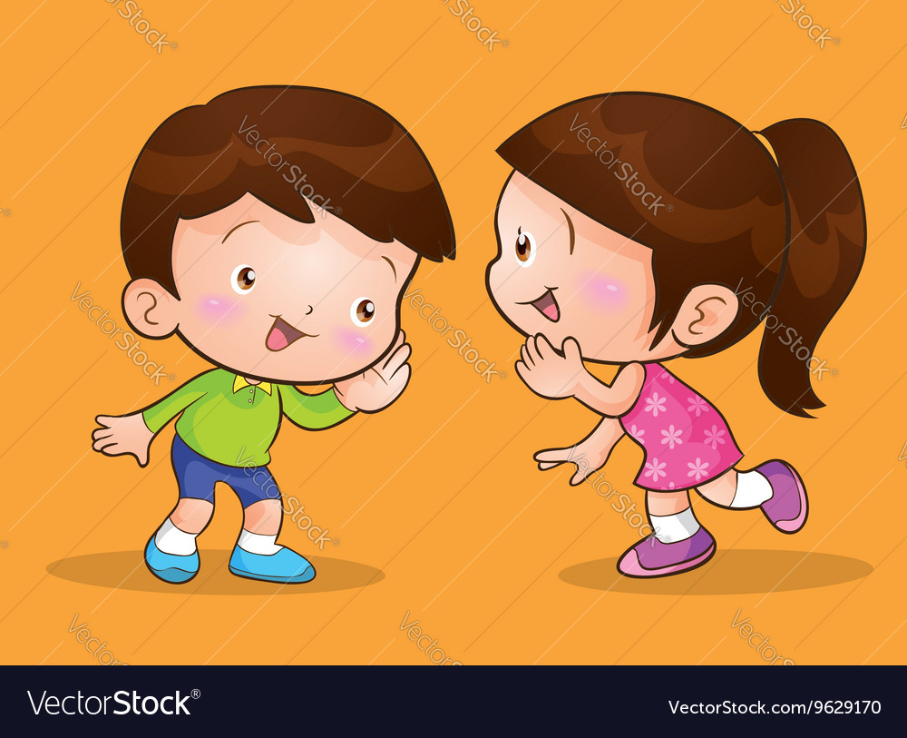listen to a talk_Cute children talk and listening Royalty Free Vector Image