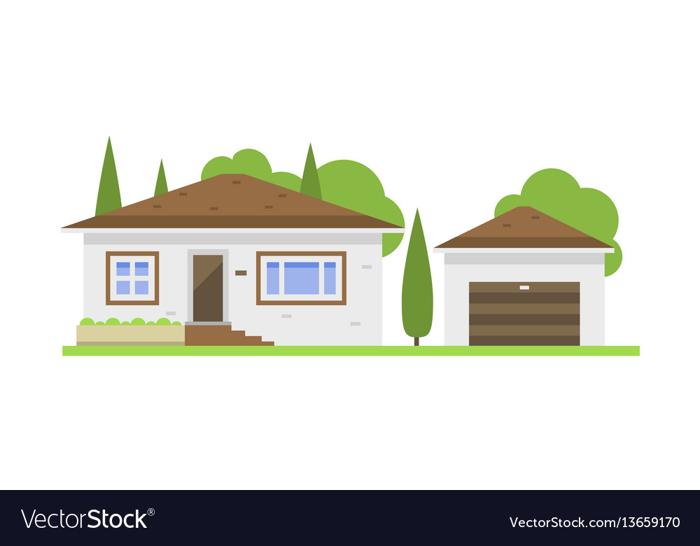 Cute colorful flat style house village symbol real