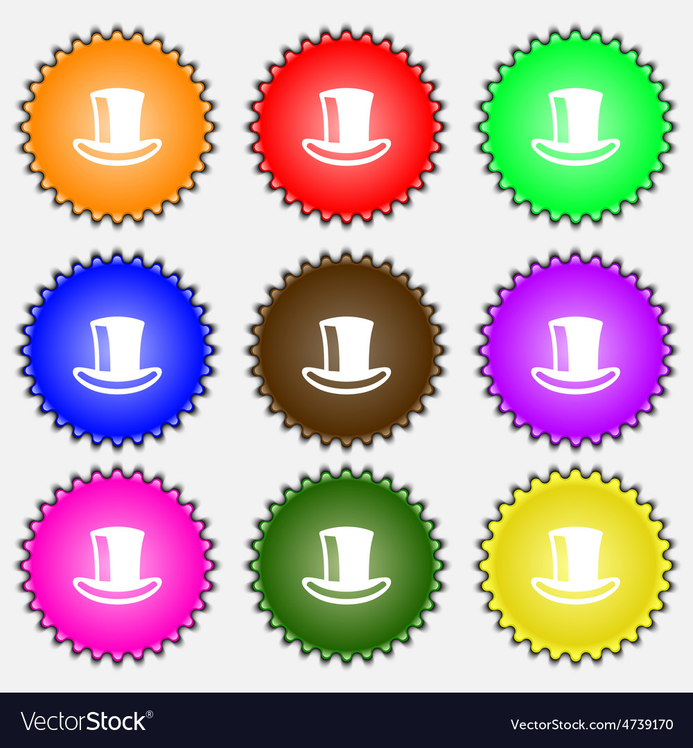 Cylinder hat icon sign A set of nine different vector image