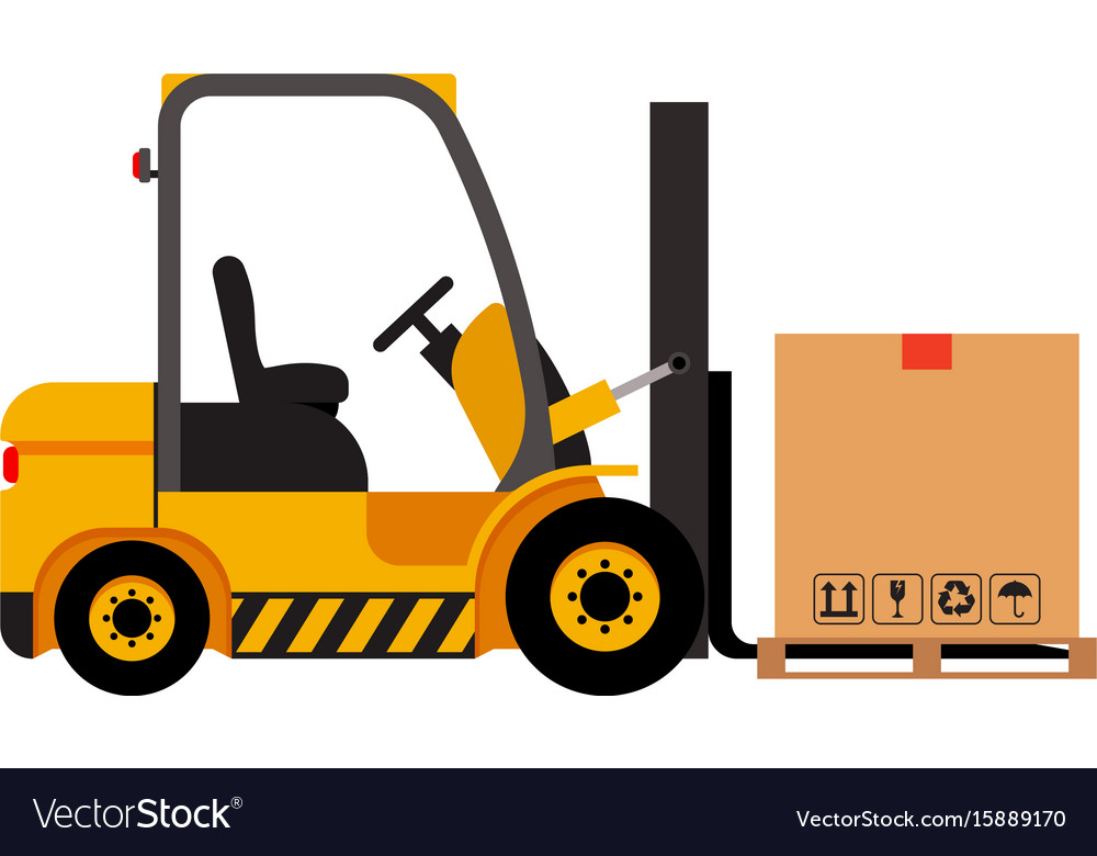 Forklift truck with cardboard box isolated