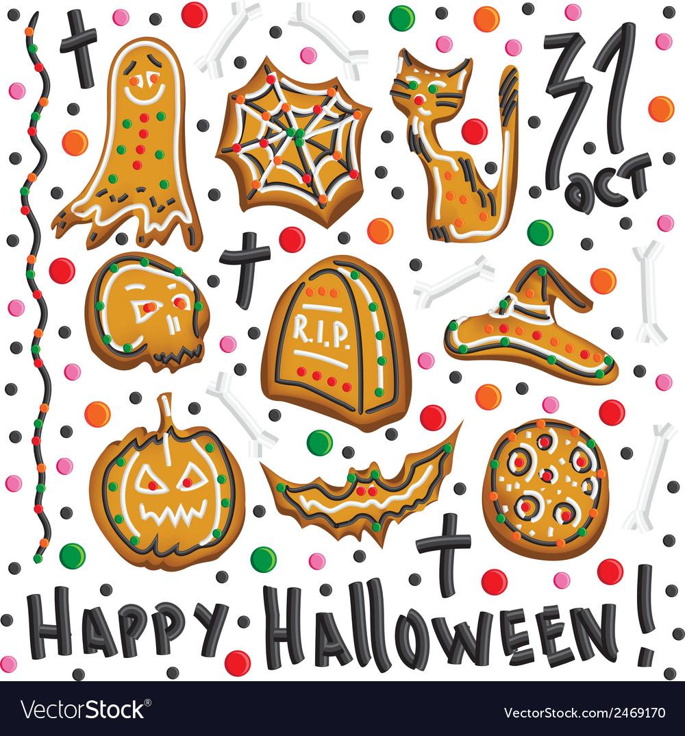 Halloween cookies Symbols of Halloween Set