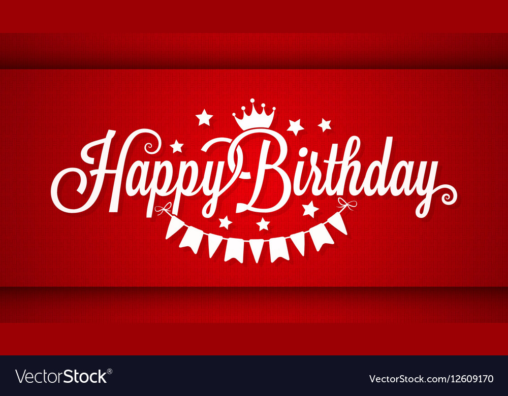 Happy Birthday Card On Red Background Royalty Free Vector