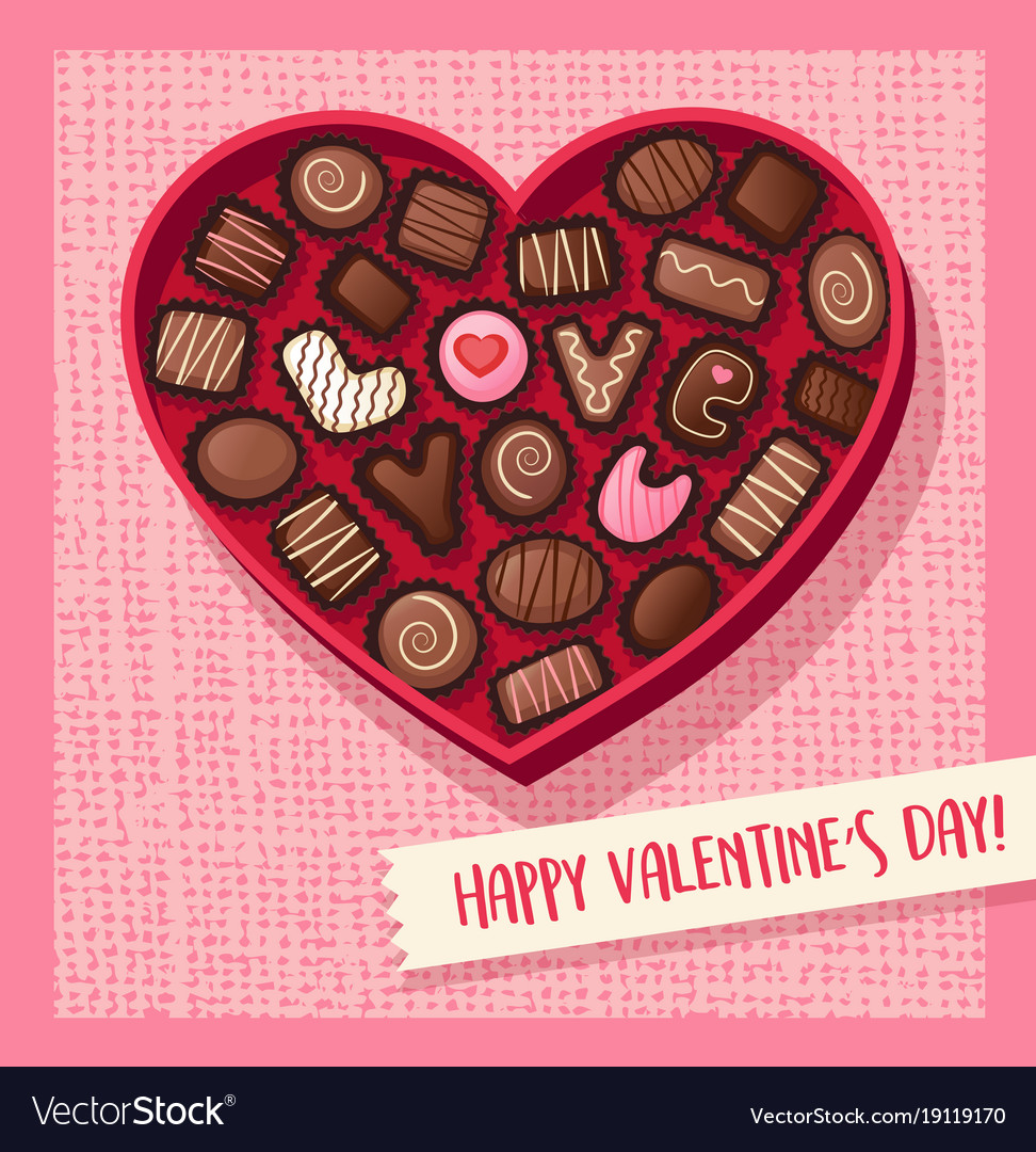 heart shaped valentines day candy box royalty free vector