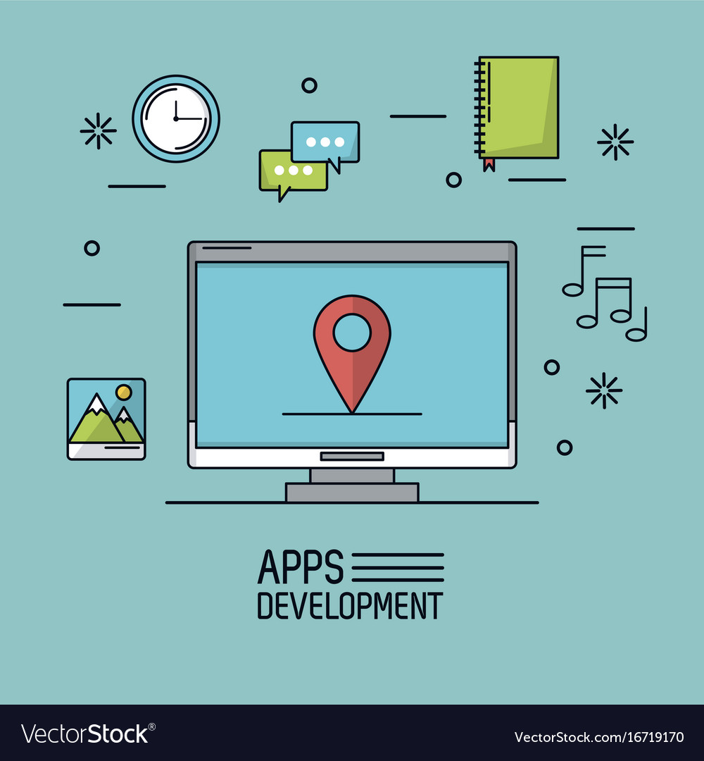 Light blue background poster of apps development vector image