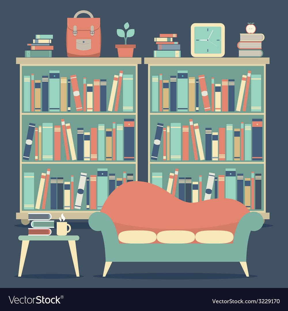 Modern Design Interior Chairs and Bookshelf