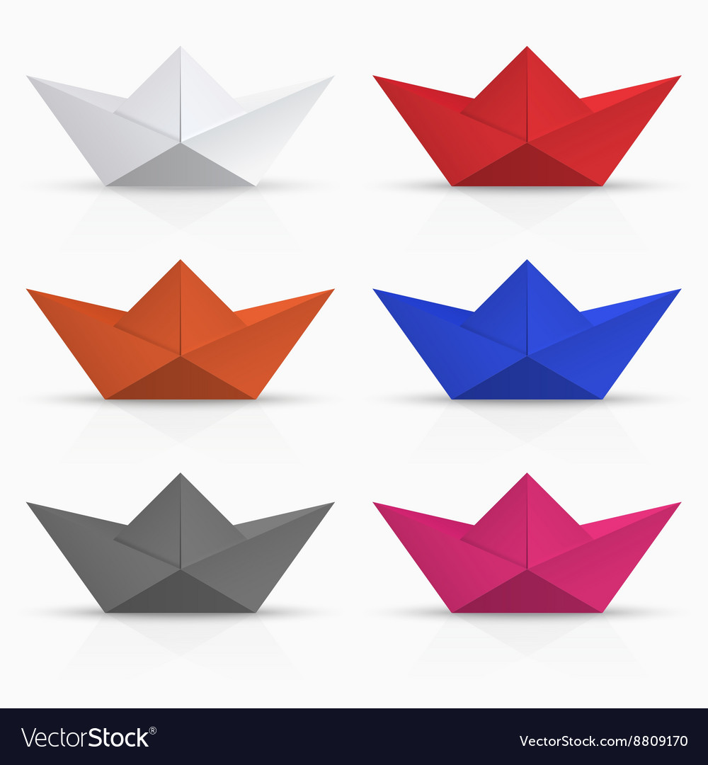 Modern origami boat set on white vector image