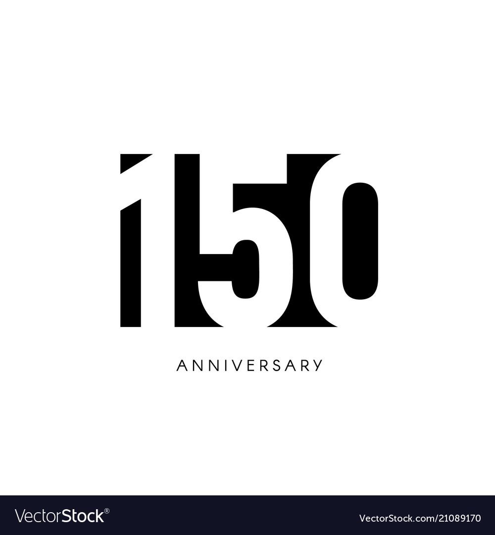 One hundred fifty anniversary minimalistic logo