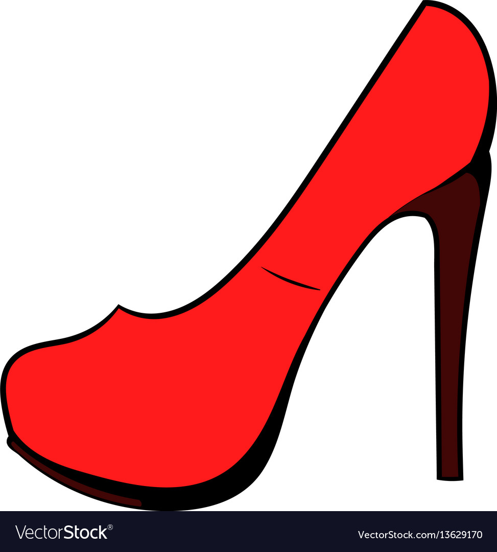 Red shoe icon cartoon