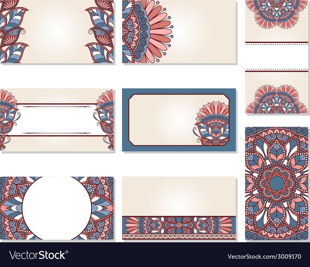 Set of ornamental business cards