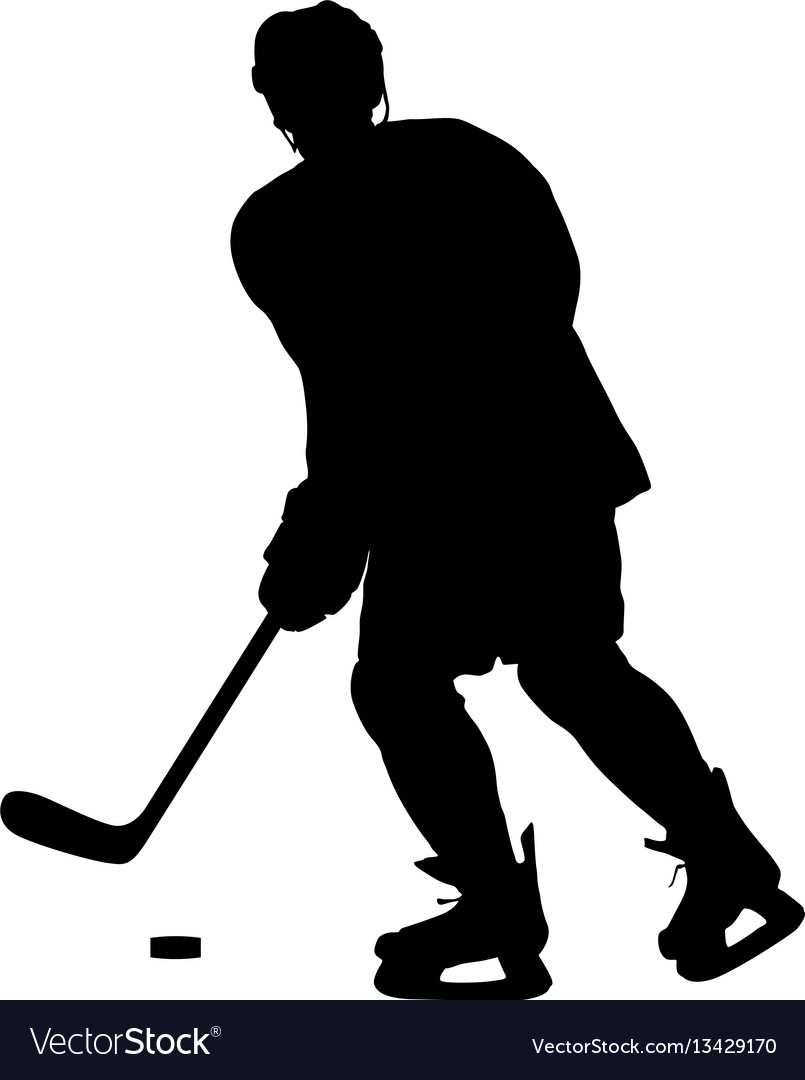 Silhouette of hockey player isolated on white