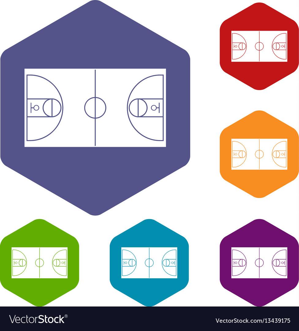 Basketball field icons set vector image