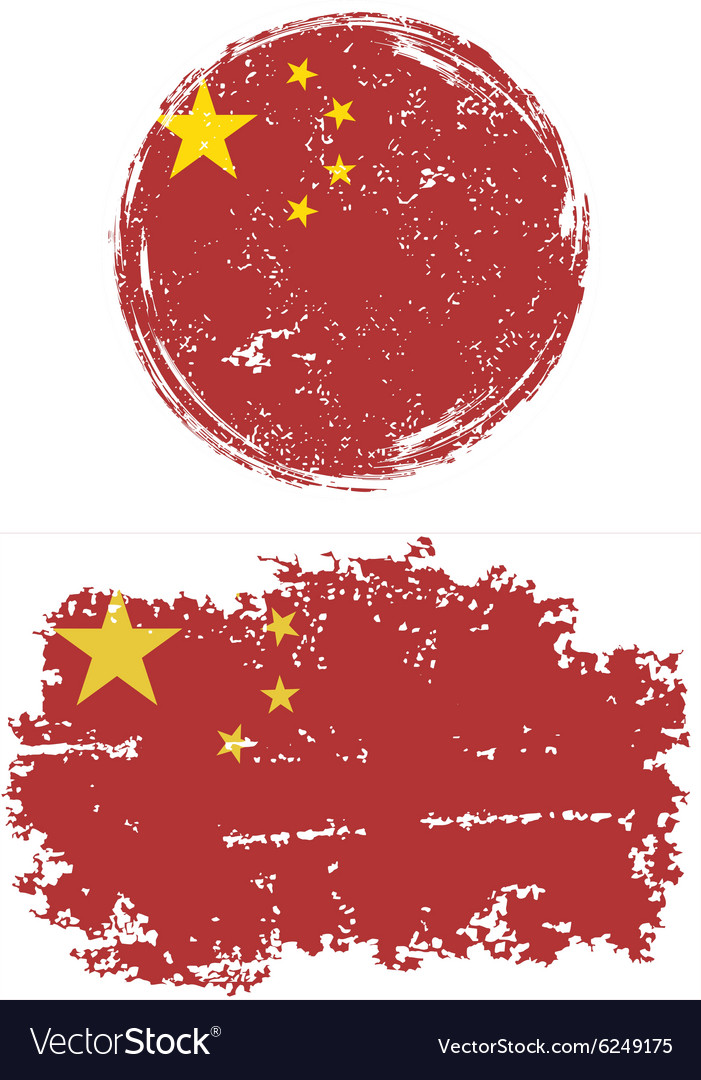 Chinese round and square grunge flags