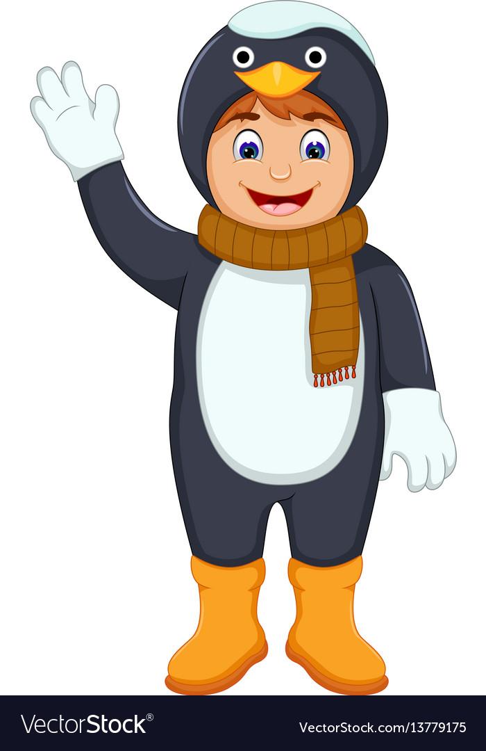Cute boy cartoon with penguin costume vector image