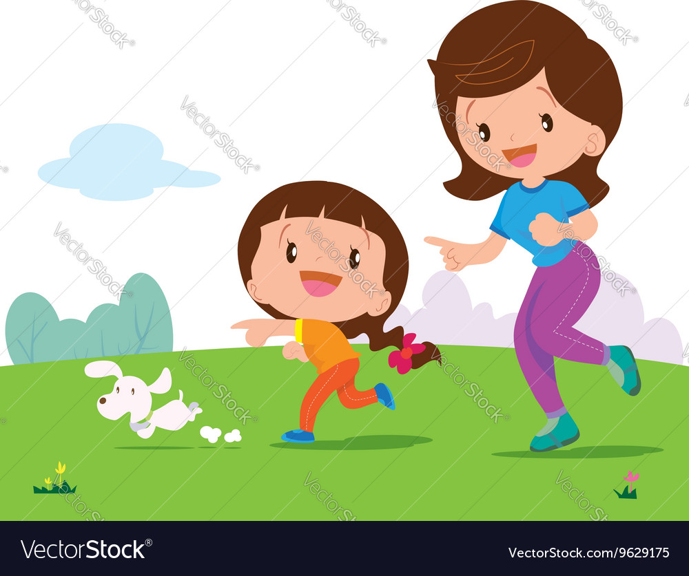 Cute girl and mom Jogging