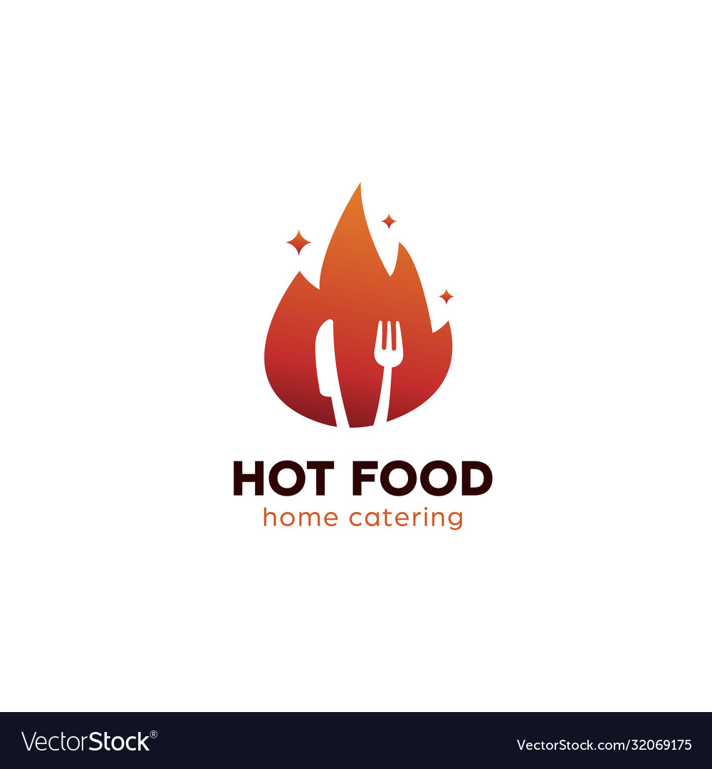 Hot food logo with flame fire burning fork