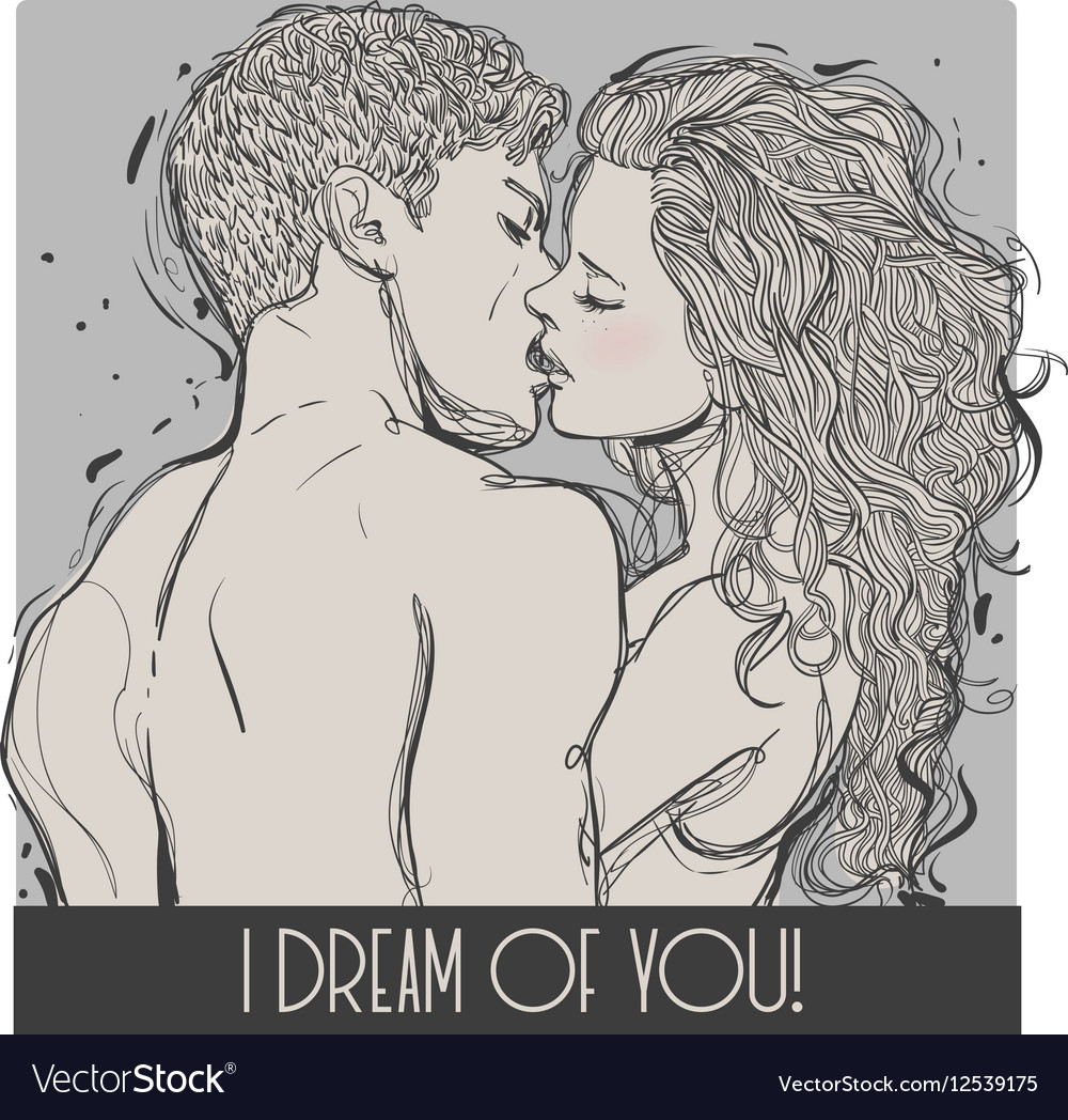 Kissing young couple vector image