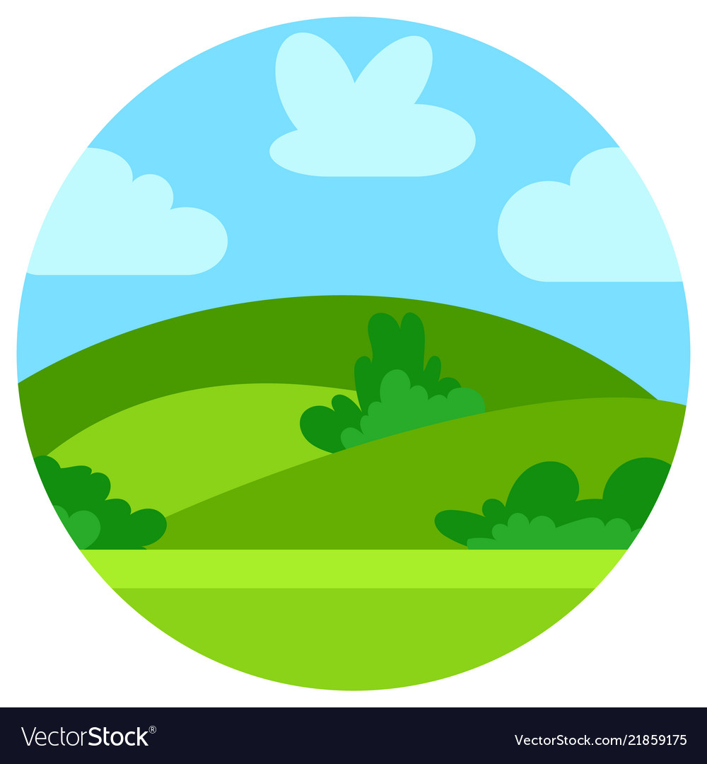 Natural cartoon landscape in circle