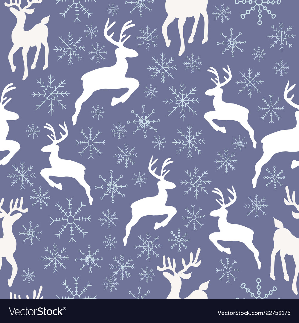 Reindeers and snowflakes seamless pattern