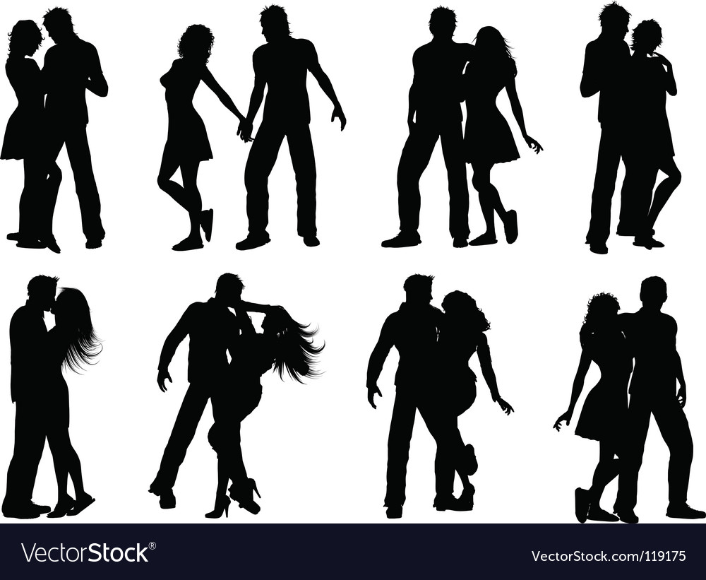 Silhouettes of couples vector image