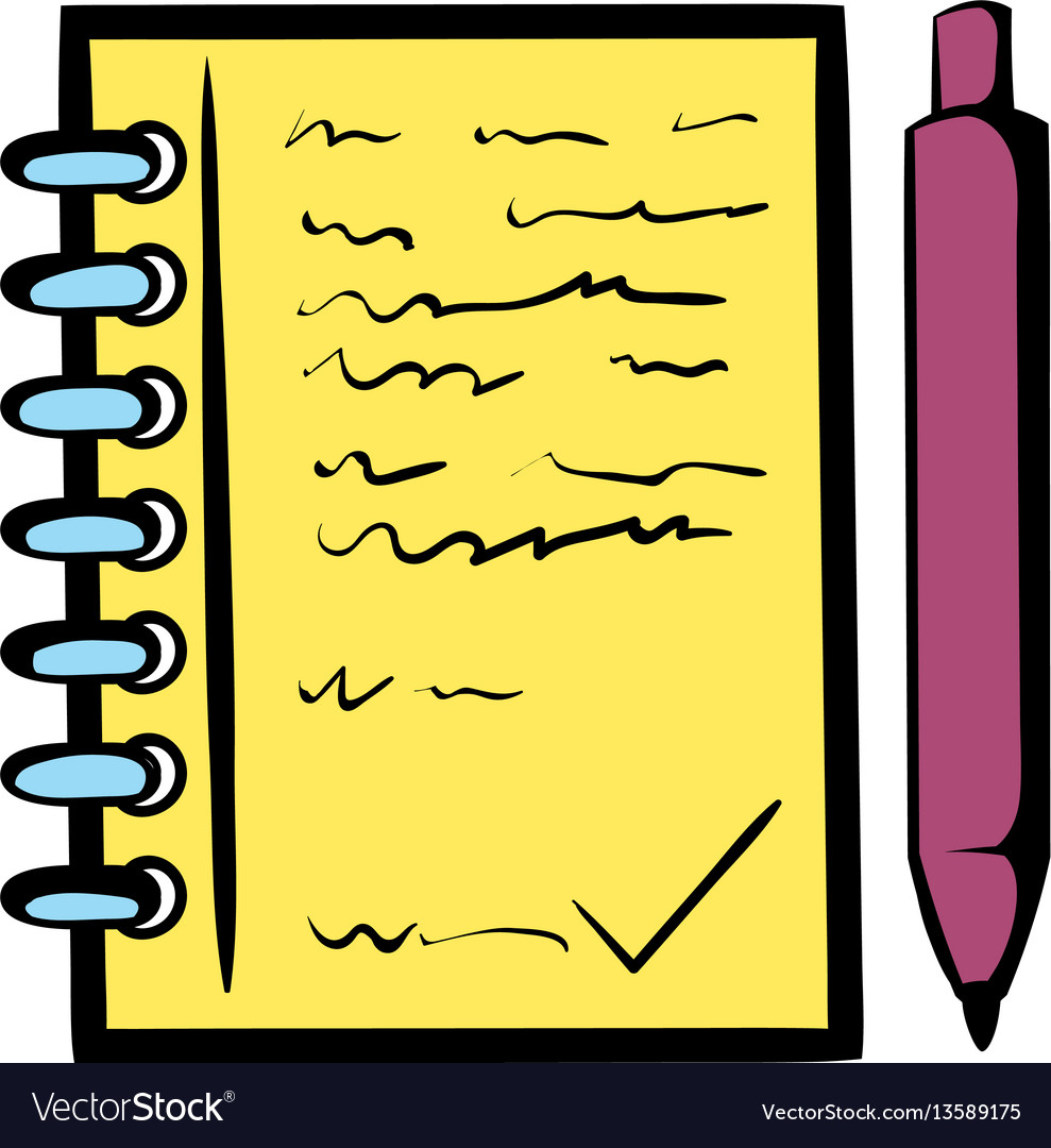 Spiral notebook and ballpoint pen icon